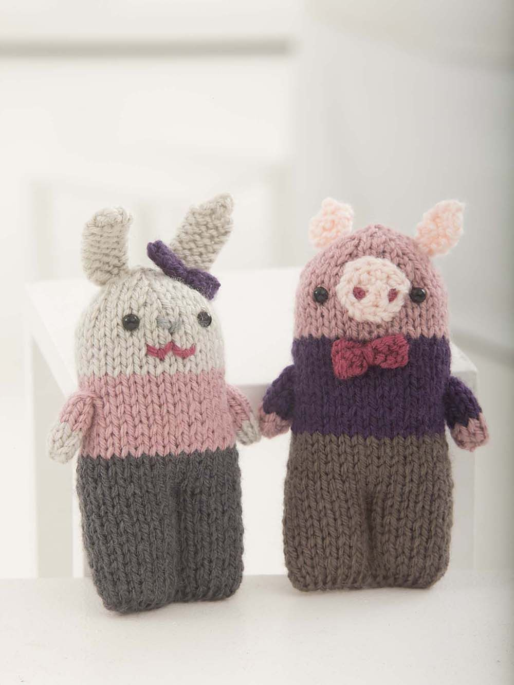 Little Pig And Bunny - Free Knitted Pattern - See http://www.ravelry ...