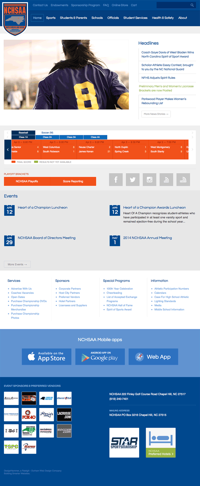 North Carolina High School Athletic Association: A mobile-optimized website that is the winner of the 2014 Blue Drop Award for Best Sports Website. #Drupal #webdesign