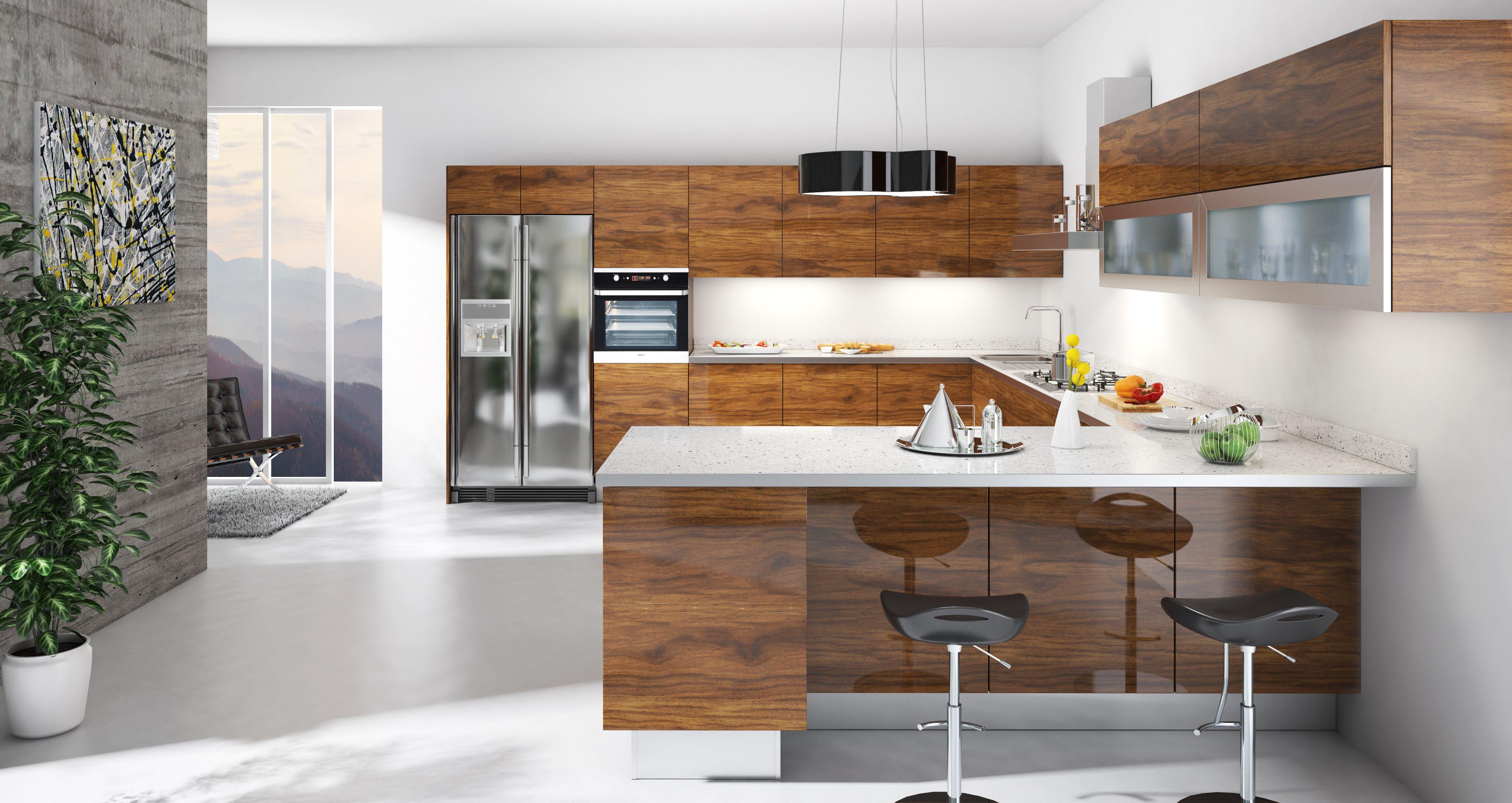 Gabon Walnut European Kitchen Cabinets Modern Kitchen Cabinets Kitchen Concepts