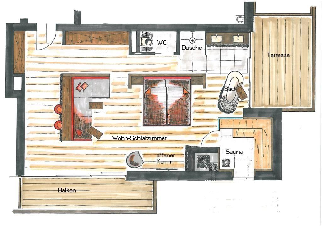 Grundriss Lebe frei Suite Superior ca. 63qm für 2-3 Personen mit ...