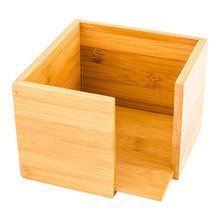 Square Natural Bamboo Cocktail Napkin Holder - 5 1/4