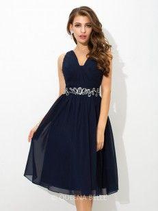 d8c1fd5bbca756 A-Line Princess Straps Sleeveless Knee-Length Beading Chiffon Cocktail  Dresses