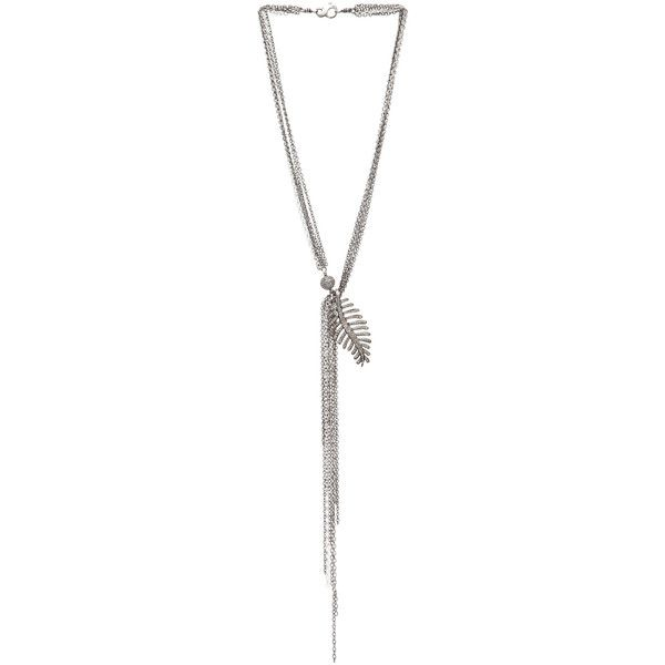 Irit Design Feather Diamond Necklace in Silver found on Polyvore