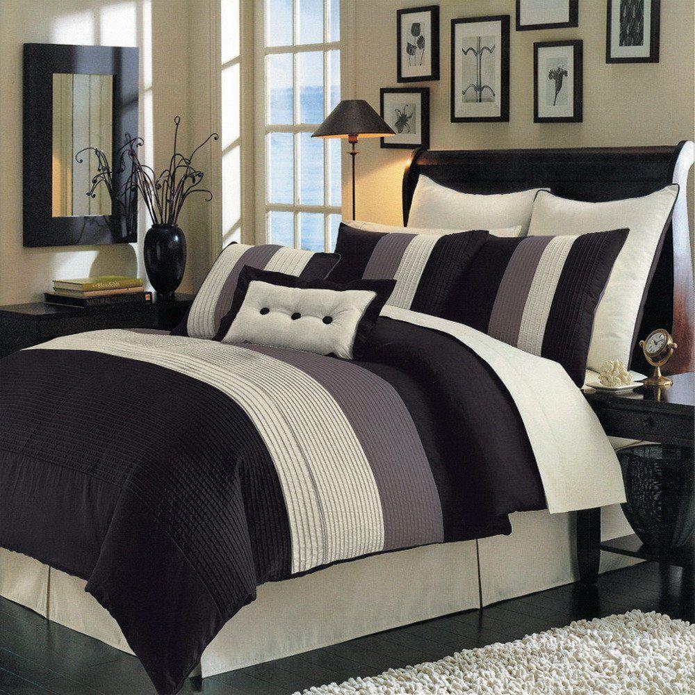 8pc Modern Color Block Black Ivory Comforter Set Brown