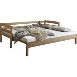 Photo of Functional bed youth bed Molde-13 90 / 180x200cm solid beech wood, incl. Relita slatted frame