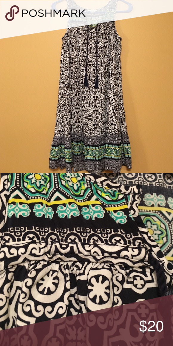 Multi color dress Multi color tank top dress with tassels Crown and Ivy Dresses Midi