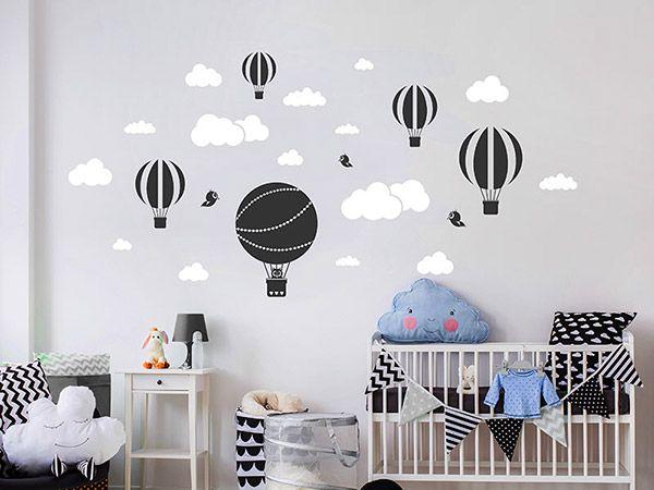 Wandtattoo Heißluftballons mit Wolken Kinderzimmer wand
