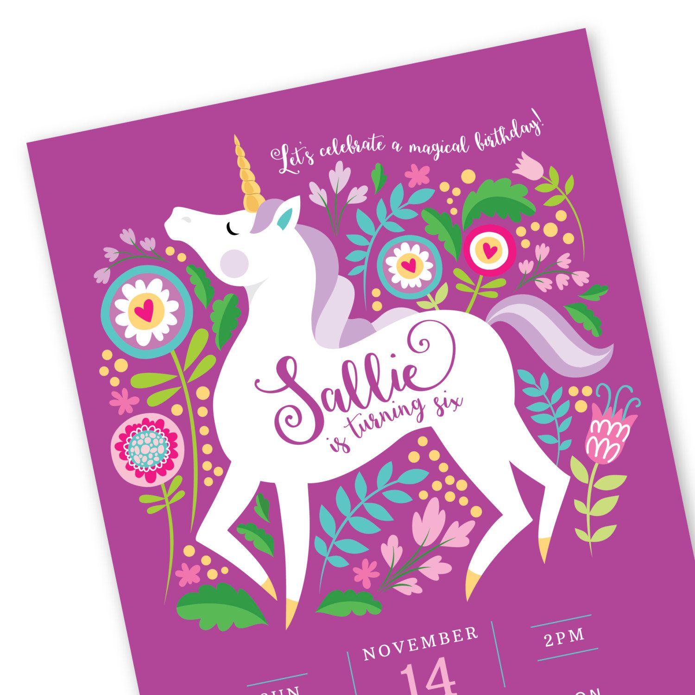 unicorn invitation printable customized diy invitation