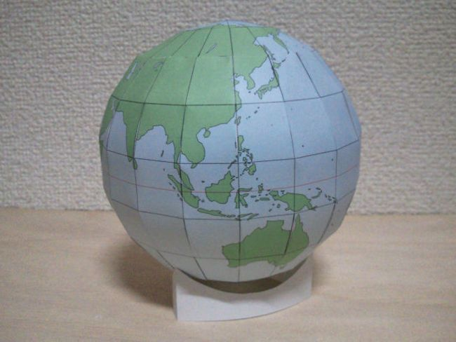 Simple Globe Free Papercraft Template Download