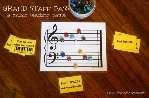 Grand Staff Pass Game – Color In My Piano