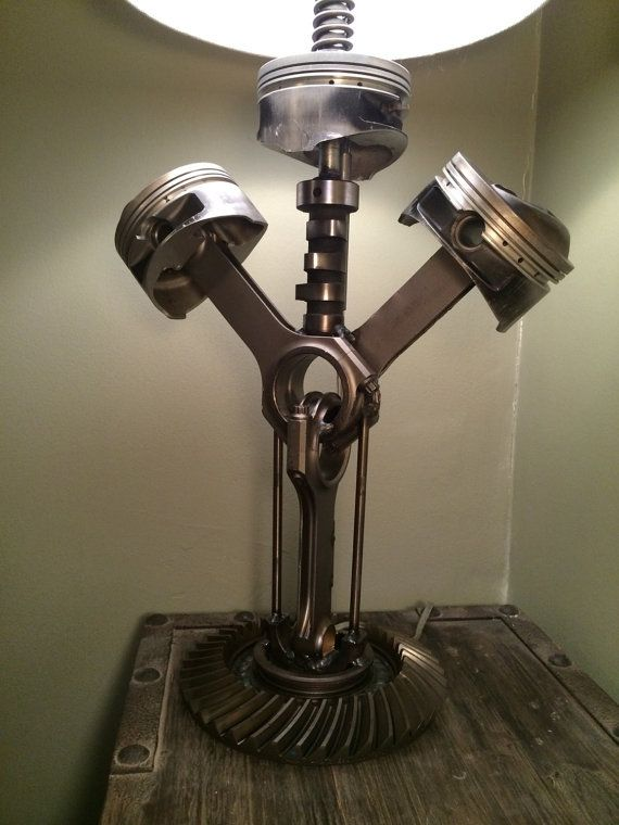 Hand crafted table lamp using repurposed by for Engine parts furniture