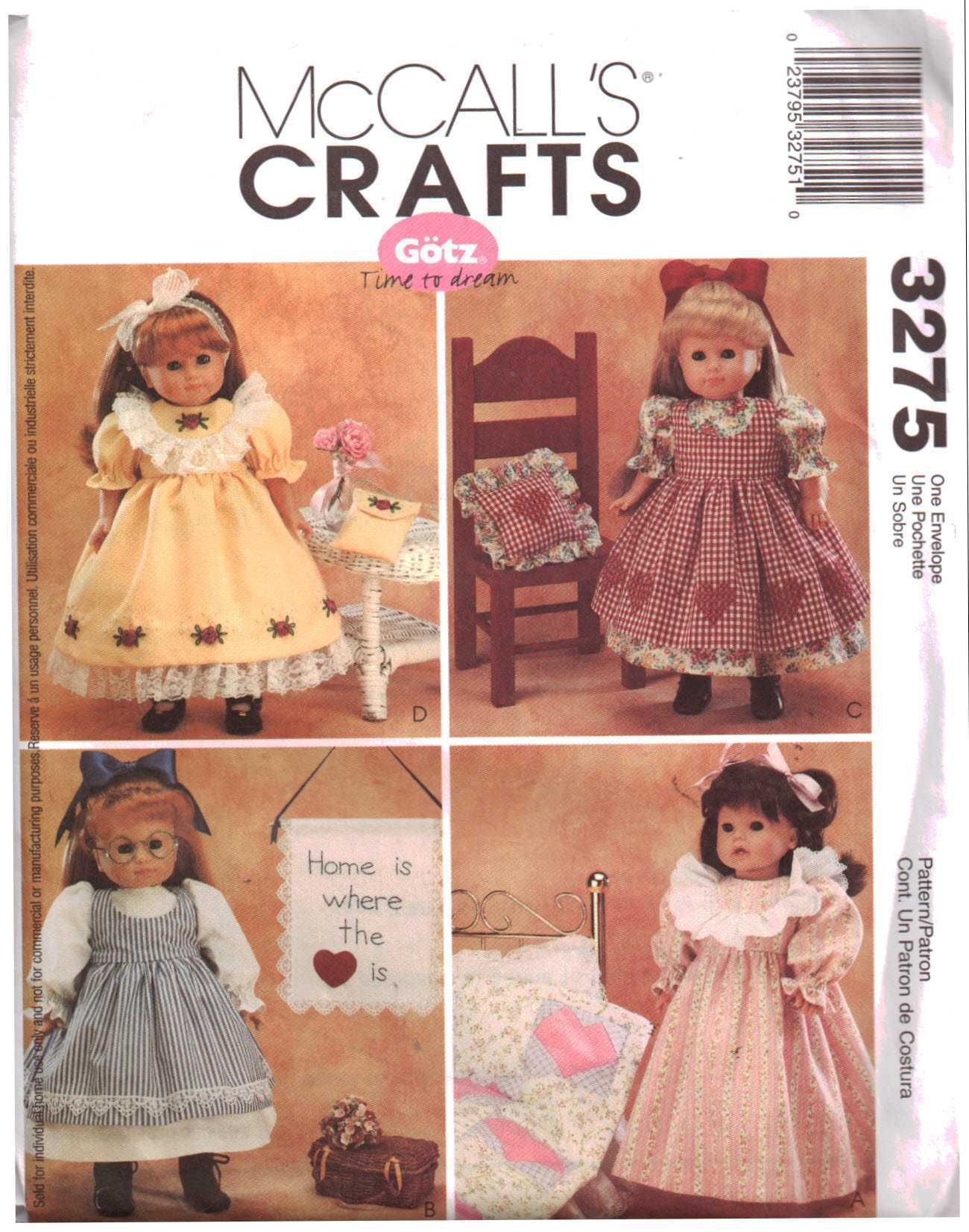 McCall's 3275 Doll Clothes Size: 18 Uncut Sewing Pattern #historicaldollclothes