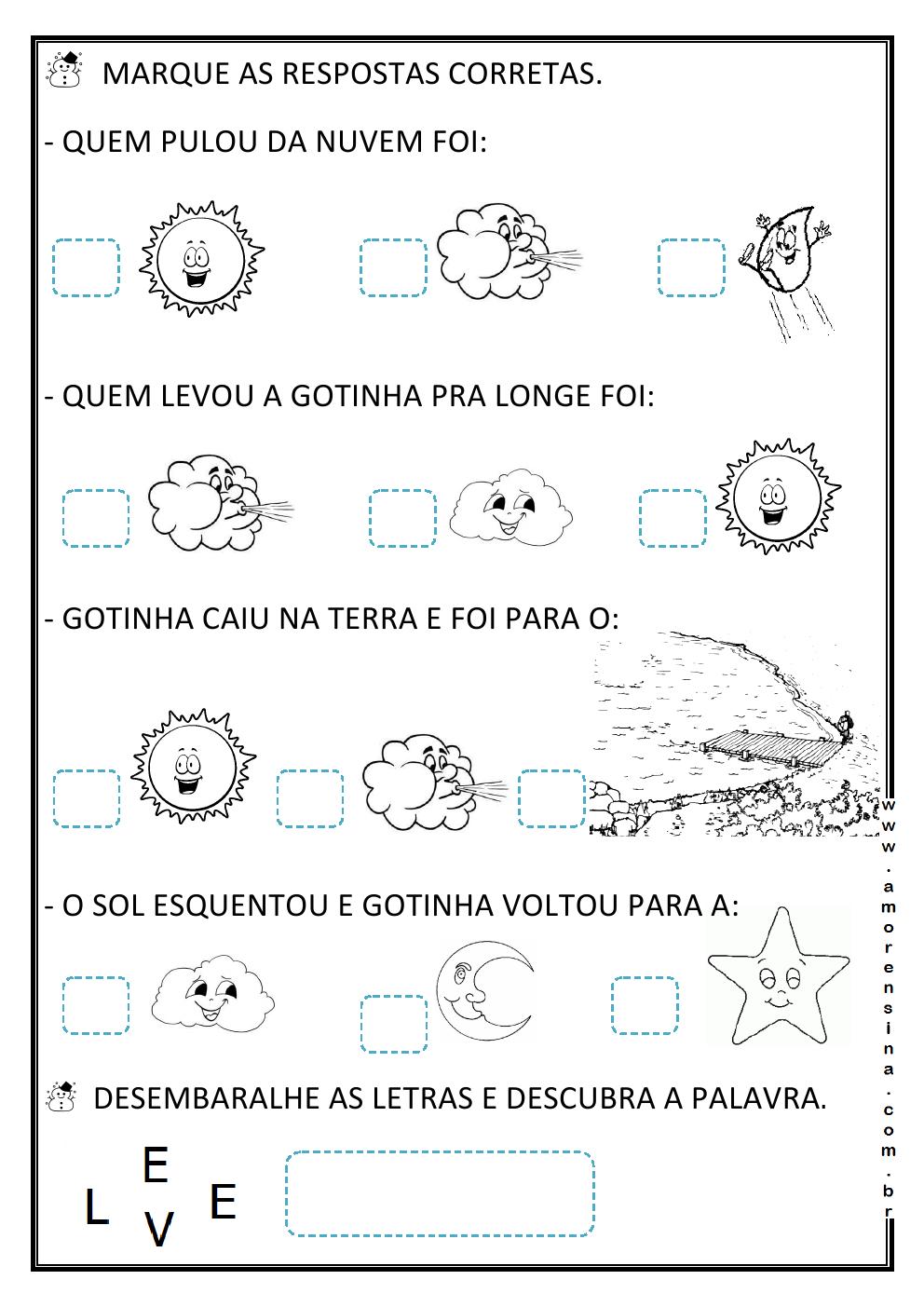 O PASSEIO DA GOTINHA! INTERDISCIPLINAR/ CICLO DA ÁGUA / 1º