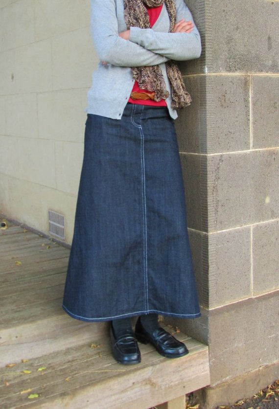 Long denim Jean Skirt Modest Maxi Custom Made 4 Gore with Pockets ...