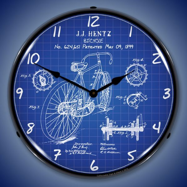 Bicycle 1899 patent light up wall clock garage office clock this bicycle themed wall clock lights up your garage office or bar with vintage style powered by an electrical outlet simply plug it in to enjoy aloadofball Images
