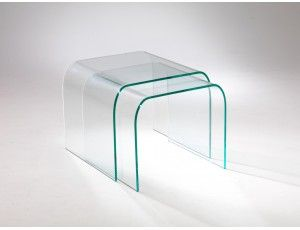 Tavolino da salotto in vetro curvato Tunnel Due | Tavolini ...
