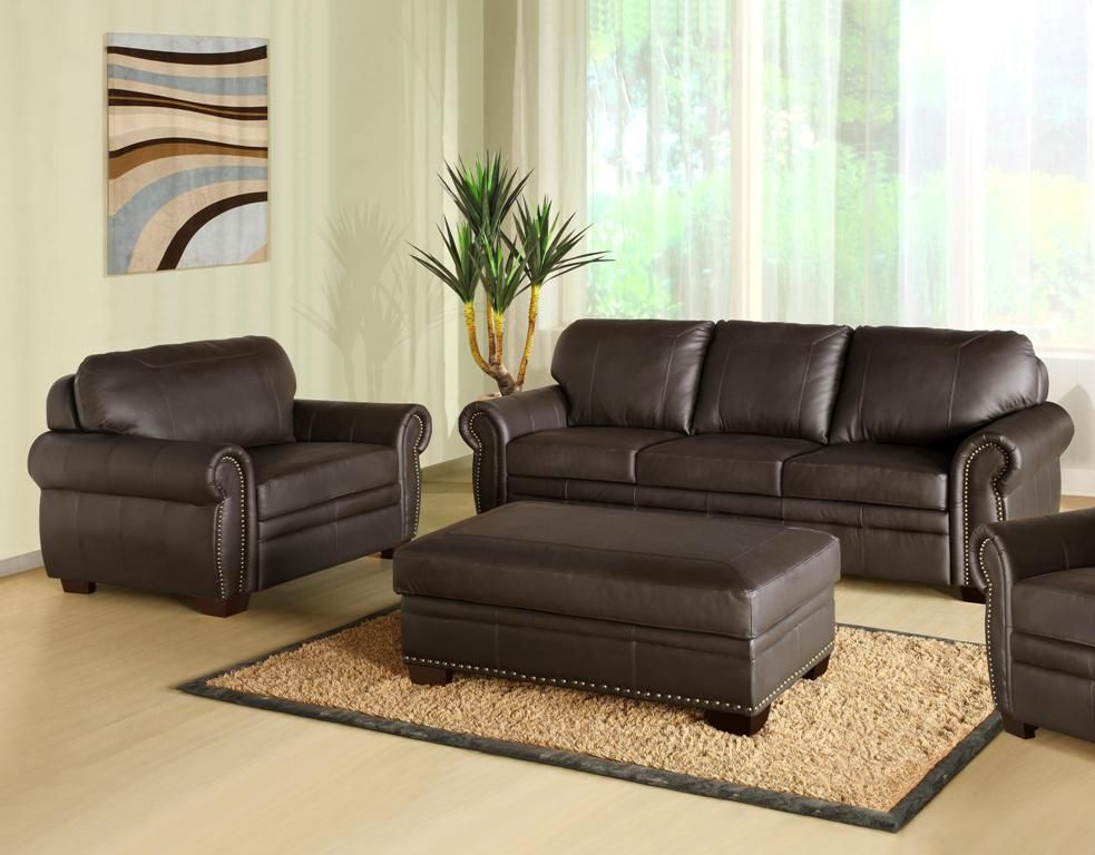 Super 3 Piece Espresso Leather Oversized Sofa With Rectangle Uwap Interior Chair Design Uwaporg