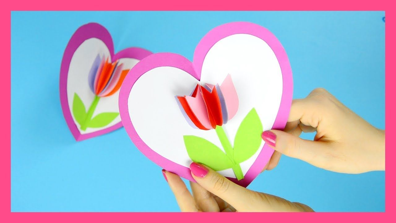 Tulip In A Heart Card Step By Step Valentines Day Or Mothers Day Card Tulips Card Pop Up Card Templates Card Tutorial