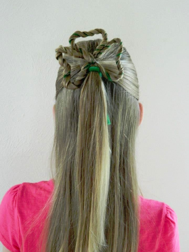 Kids Hair For School St Patrick S Day Hair Lucky Clover Hairstyle Clover Hairstyle Hair Styles Shamrock Hairstyle