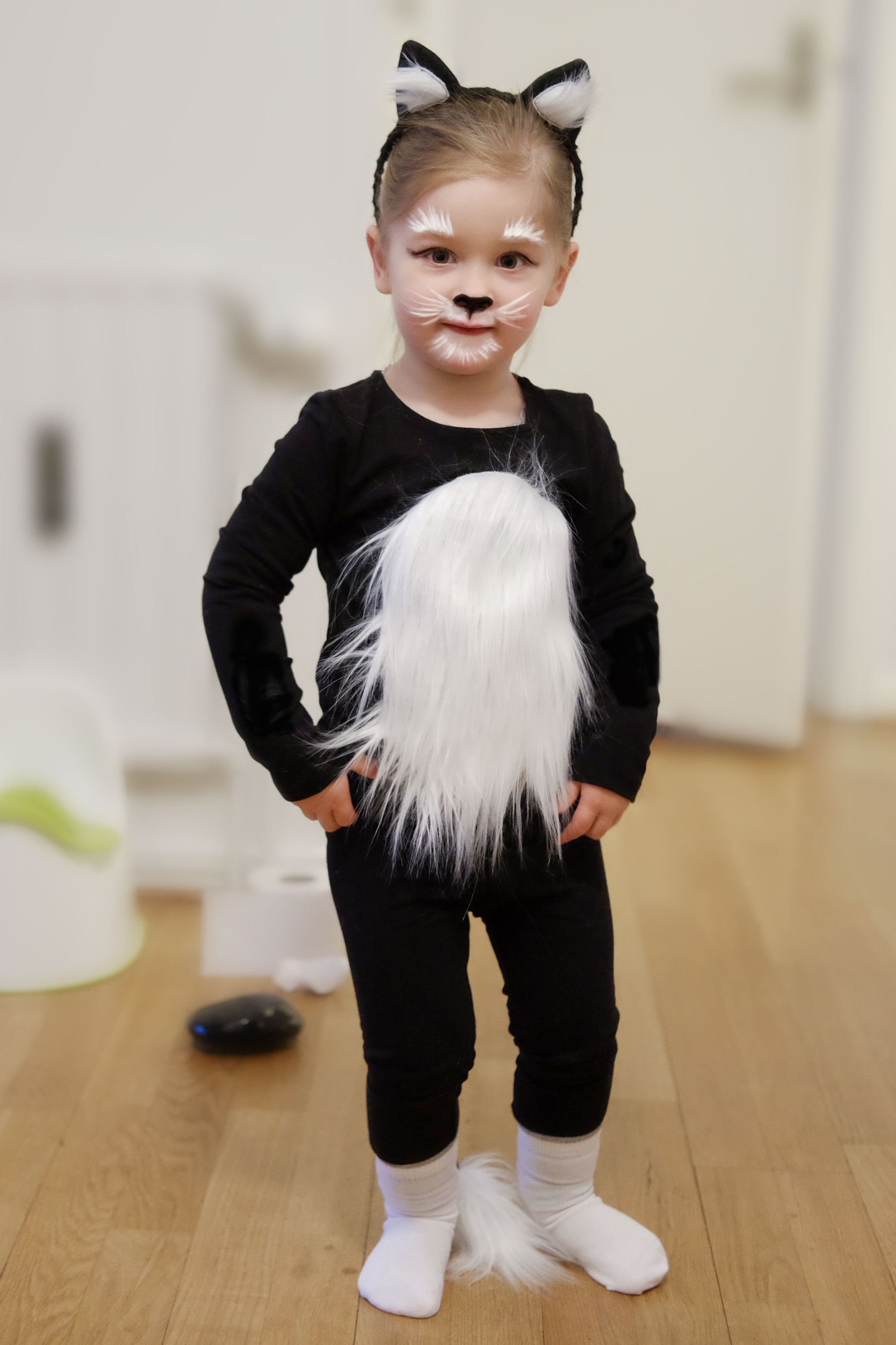 Diy Cat Costume Face Paint Step By Step Thinking Dreams In 2020 Cat Costume Diy Diy Girls Costumes Cat Halloween Costume