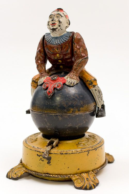 Antique Mechanical Cast Iron Clown On