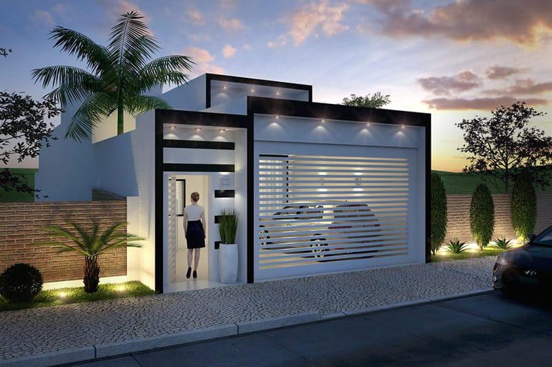 Planta de casa com fachada preto e branco fachadas en for Planos casas pequenas modernas