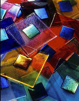 Handmade Iridescent Glass Tile by Amy Cushing