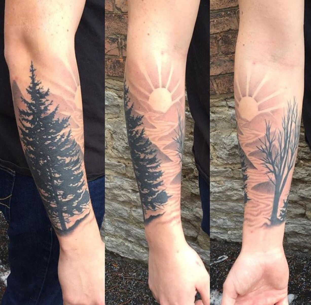 86b73535d Landscape tattoo nature trees mountains sun silhouette black and grey