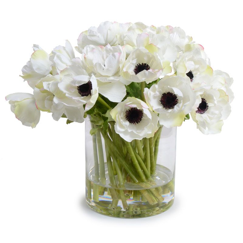These Reproduction White Anemone Are So Close To The Real Flower No One Will Be Able To Tell The Faux Flower Arrangements Fake Flower Arrangements Faux Flowers
