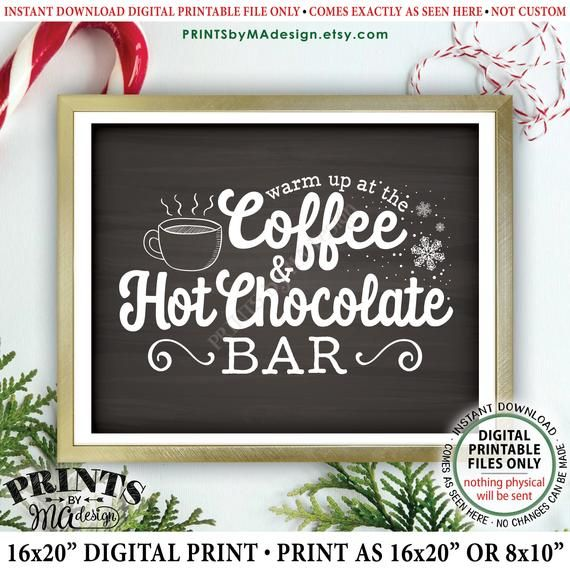 "Coffee and Hot Chocolate Sign Warm Up at the Coffee & Hot Chocolate Bar, Cocoa Coffee Sign, PRINTABLE 8x10/16x20"" Chalkboard Style Sign  #hotchocolatebar"