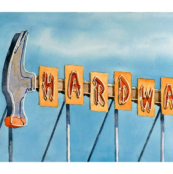 Sign Art Watercolor Vintage Neon Sign Series Hardware by LaBerge