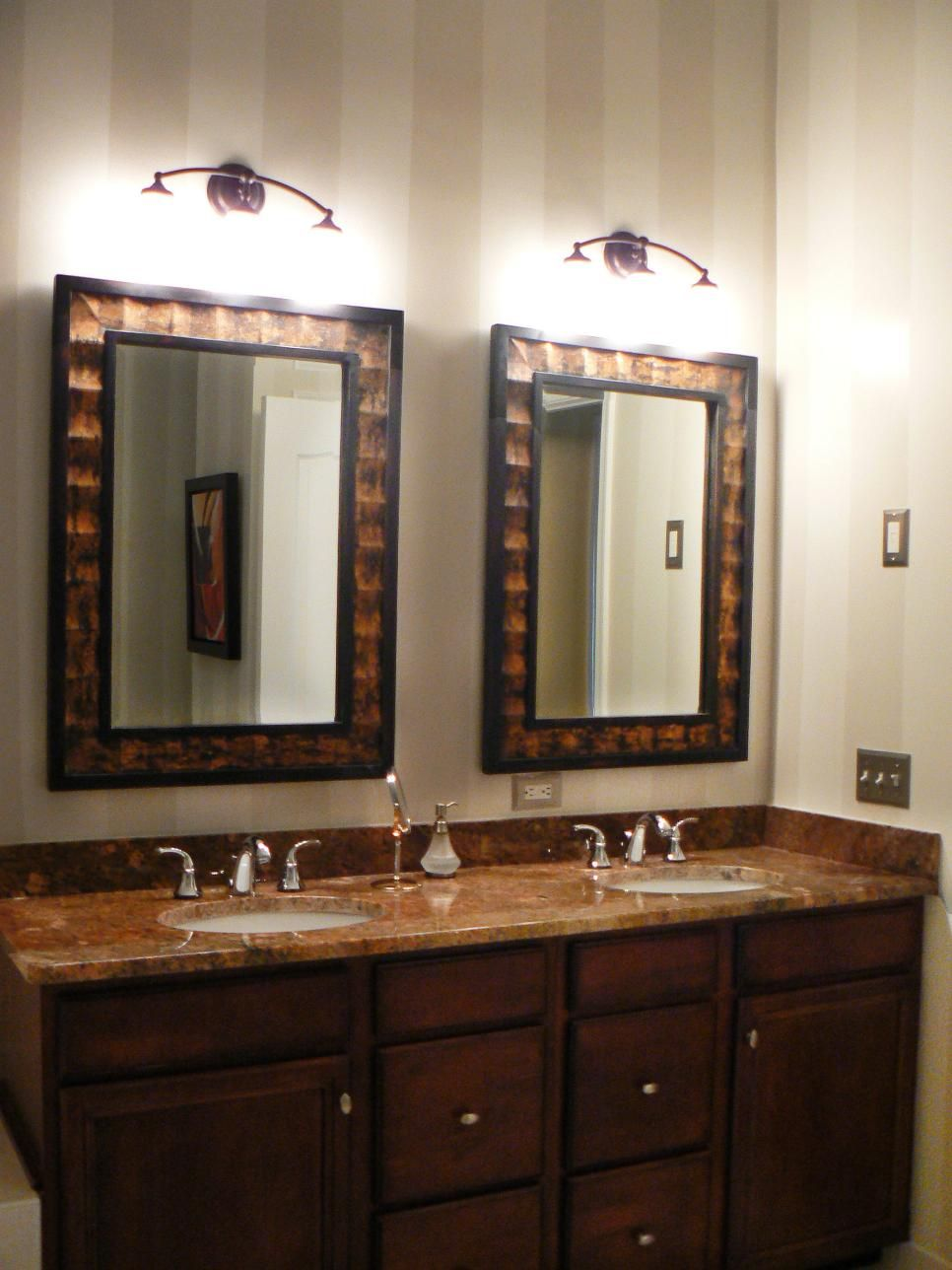 Beautiful Bathroom Mirrors Pinterest Vertical Striped Walls Bronze Mirror And Neutral Tones