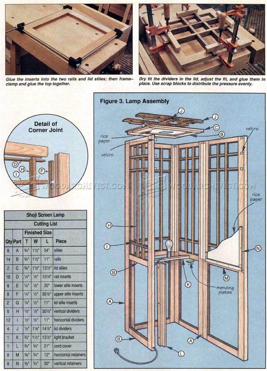 Shoji Fai Da Te.3007 Shoji Screen Lamp Plans Woodworking Plans Diy In
