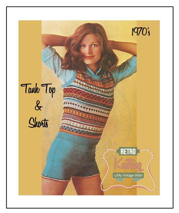 1970s Fair Isle Tank Top and Shorts Vintage Knitting Pattern - PDF ...