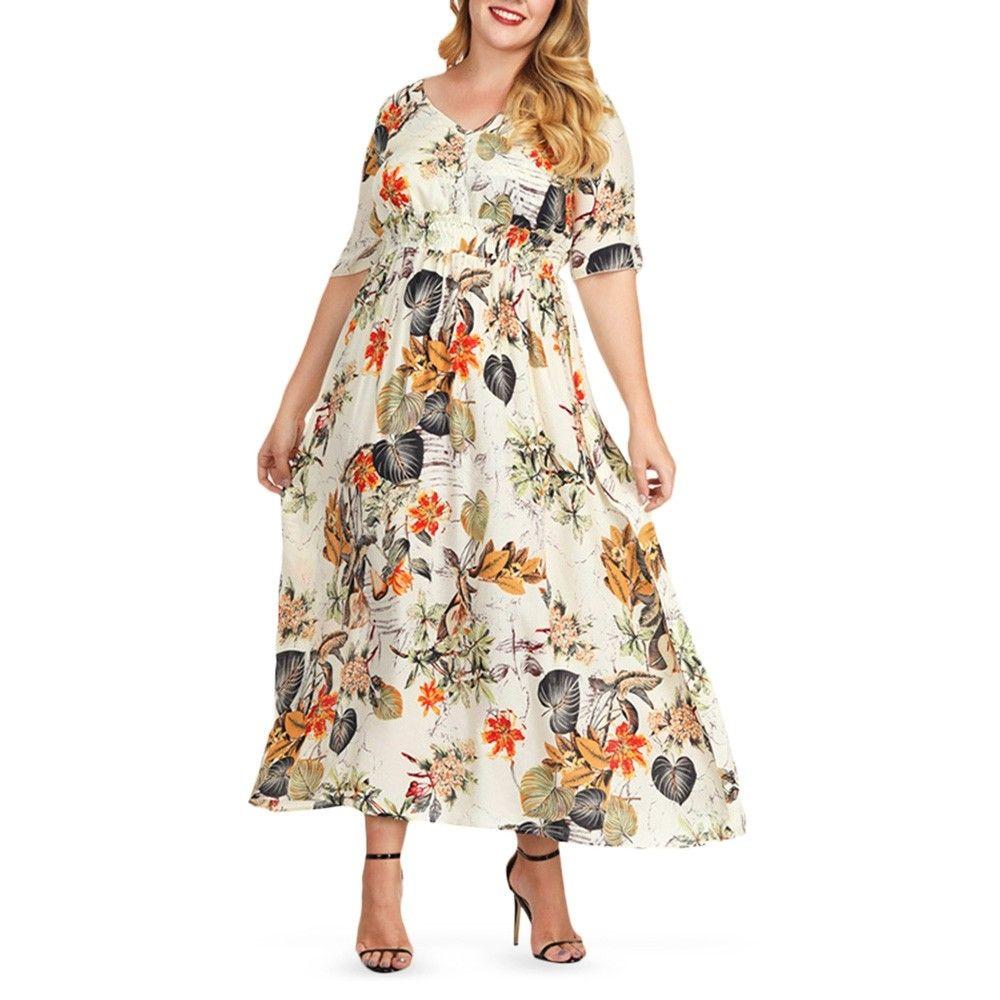 Plus Size V Neck Leaf Print Women Maxi Dress Warm White 4w76427414 Size 2x Plus Size Maxi Dresses Maxi Dress Plus Size Summer Dresses [ 1000 x 1000 Pixel ]