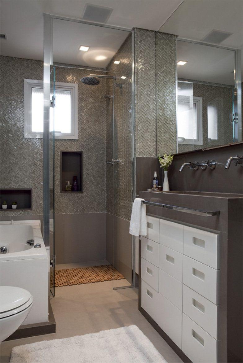 Armario Giratorio Multifuncional ~ Banheiros pequenos e bem resolvidos Tok stok, Escuro e Metal