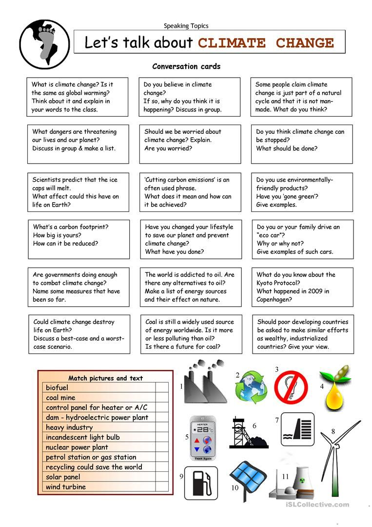 Let\'s Talk about CLIMATE CHANGE worksheet - Free ESL printable ...