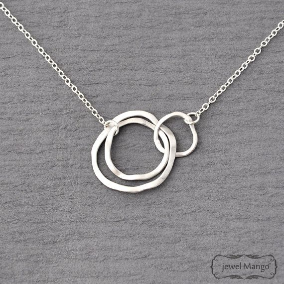 simple modern Gold Triple Rings gold filled Three Ring Necklace Gold Linked Circles Past Present Future