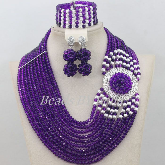 Costume Jewellry Sets Purple Statement Necklace Nigerian Wedding ...