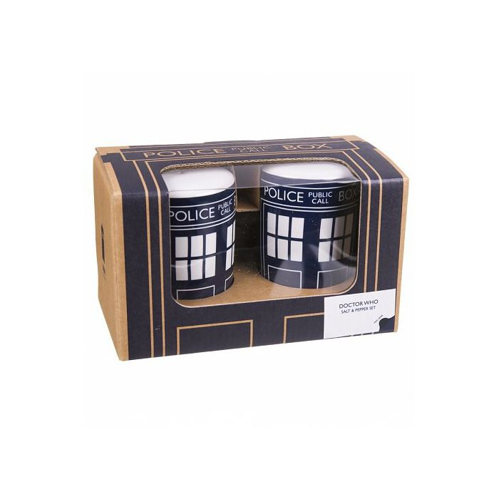 DOCTOR WHO TARDIS CERAMIC SALT /& PEPPER SHAKERS BRAND NEW BBC OFFICIAL