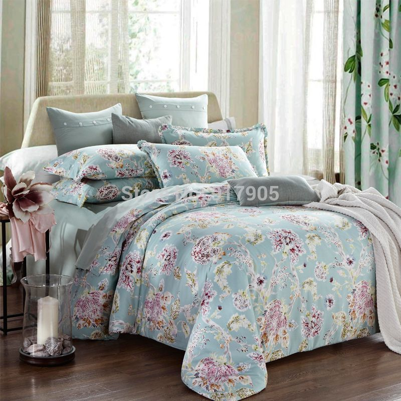 european country style duvet covers modern vintage floral printing comforters bedding sets. Black Bedroom Furniture Sets. Home Design Ideas