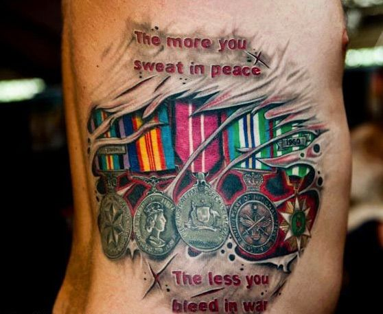 the more you sweat in peace the less you bleed in war Combat action badge tattoo combat action badge done by eric backlund from  evolution tattoo in fairless hills pa rate of pictures of tattoos, submit your own.