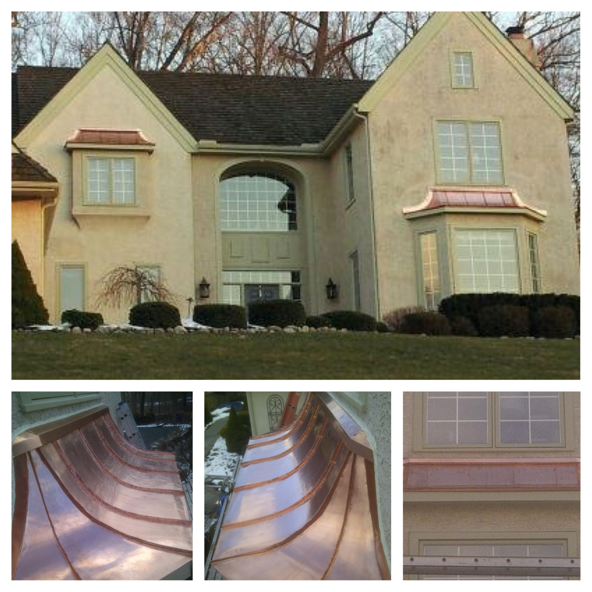 Concave Copper Roofs Over Bay Windows Copper Roof Ideas Cheap Bathroom Remodel Inexpensive Bathroom Remodel Bathroom Remodel Tile