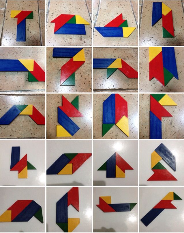 This 4-piece Tangram set comes with 70 puzzles, managed to squeeze 20 solutions here.