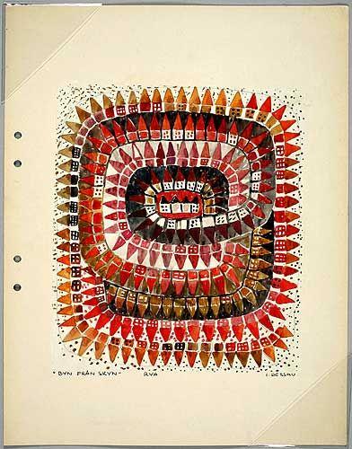 'Byn från skyn' by Ingrid Dessau, mat design sketch