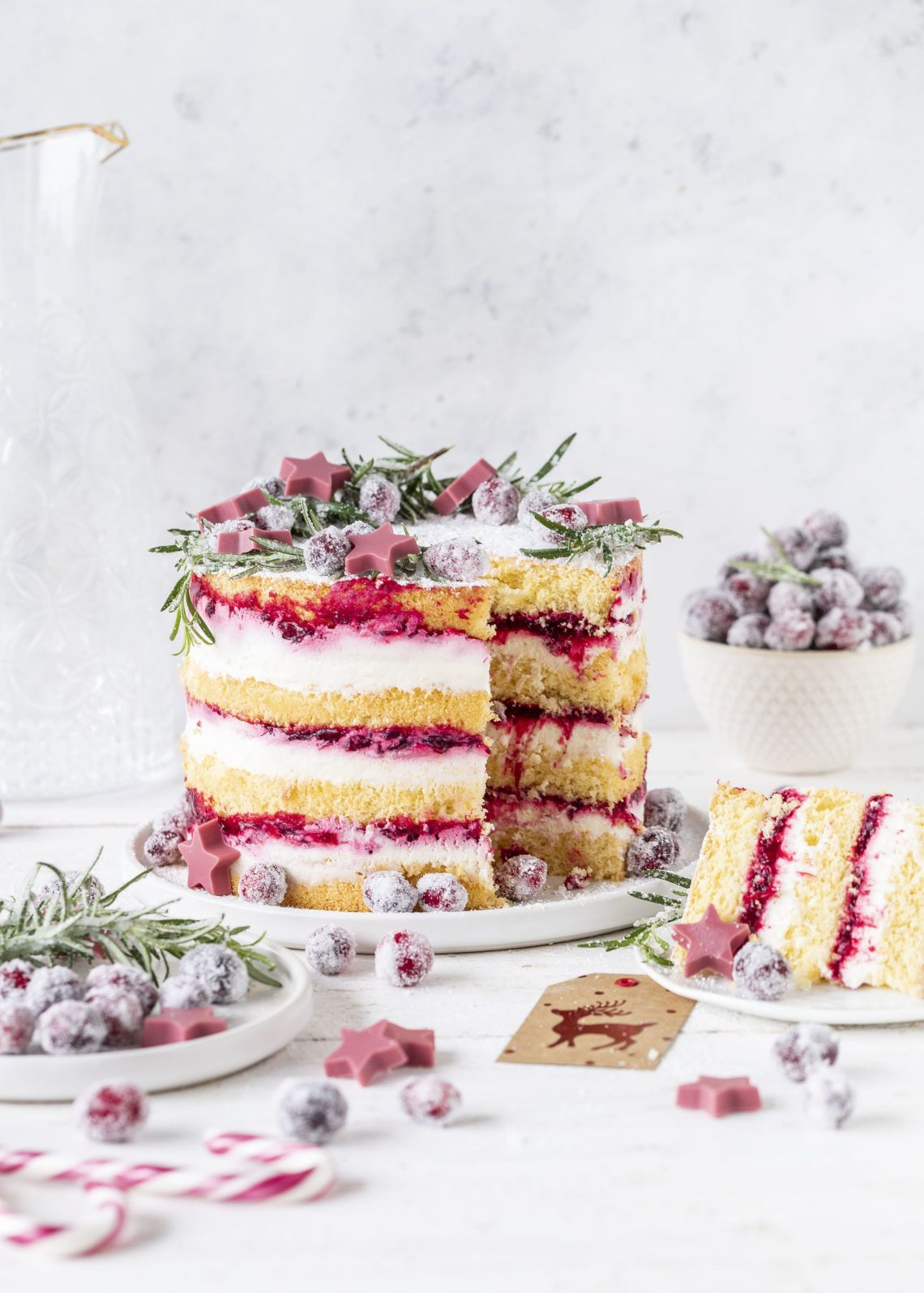 Leckere Cranberry Biskuit Torte Rezept Layer Cake #torte #cranberry #backen #lay…