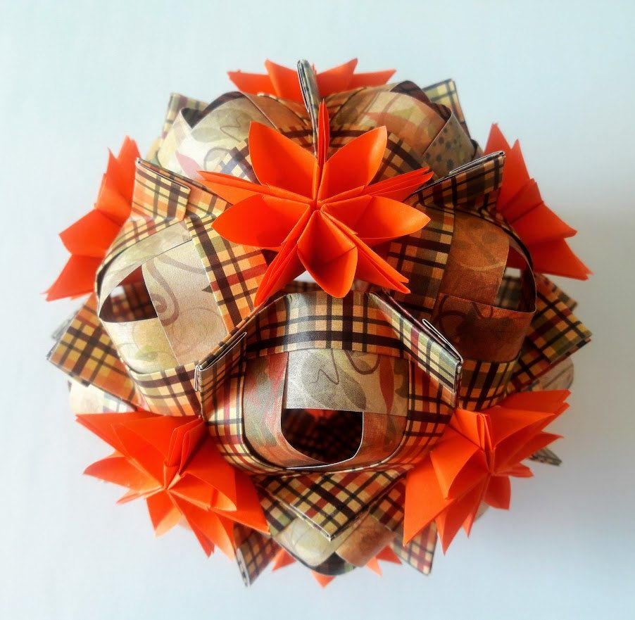 3d origami Cofo kusudama with Asterix flowers by 3DOrigamiArtStudio on Etsy