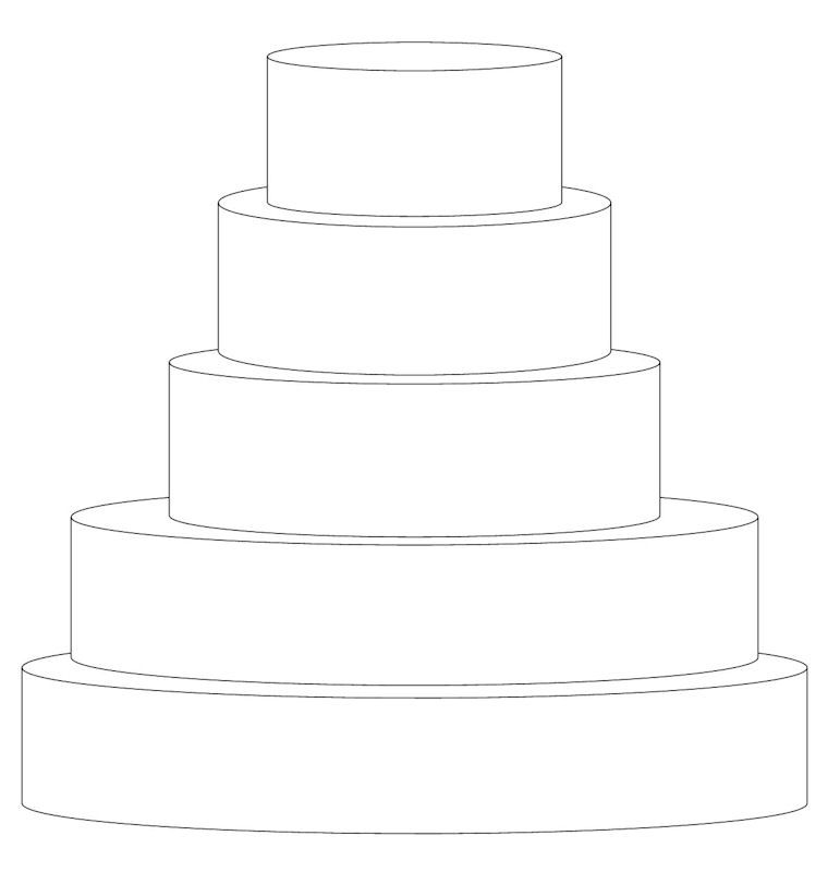 3 tier wedding cake outline 5 tier 16 quot 14 quot 10 quot 8 quot and 6 quot cake templates 10287