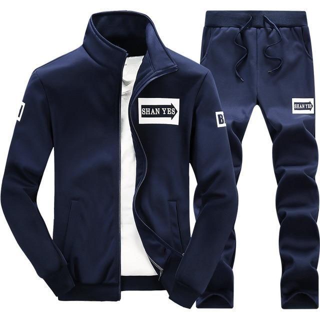 2019 Autumn Sportwear Fashion Mens Set 2pc Zipper Hooded Sweatshirt Jacket+pant Moleton Masculino Sets Tracksuit Men Home