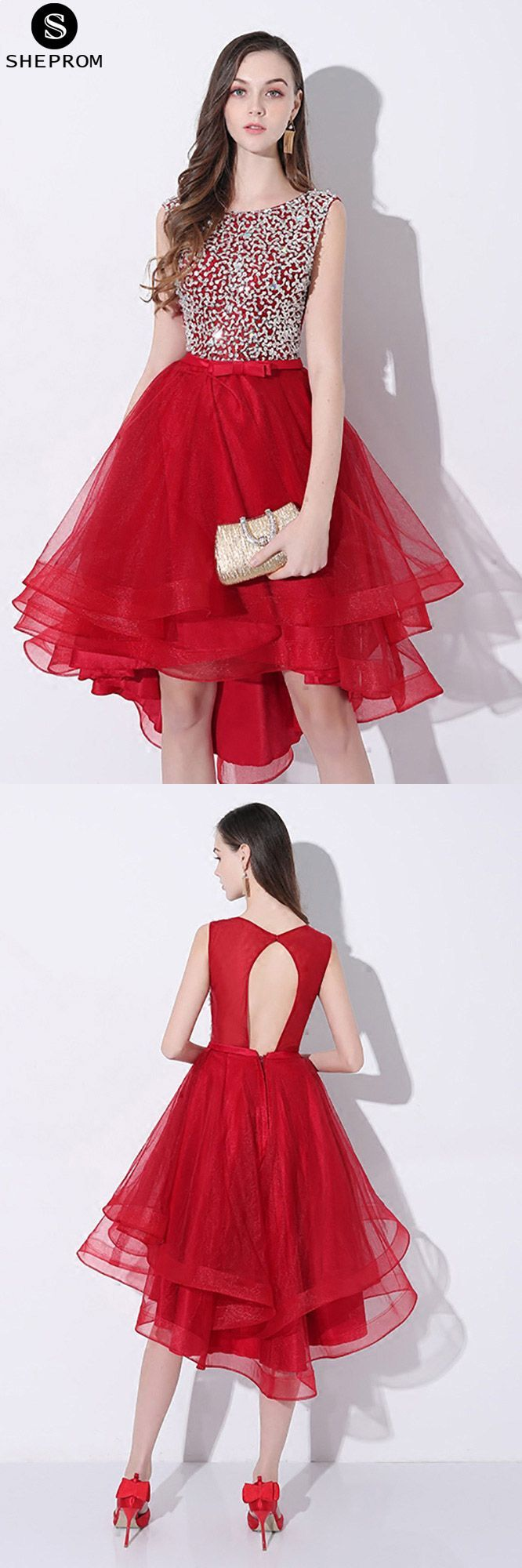Sparkly sequins red short prom homecoming dress high low with open